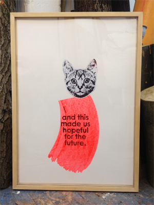 and this made us hopeful for the future , 2016, screen-print and collage